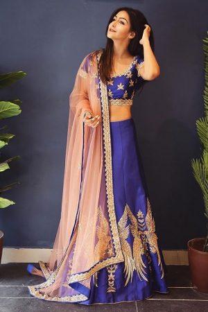 Women'S Bhagalpuri Semistitched Lehenga Choli( Blue_Free Size)