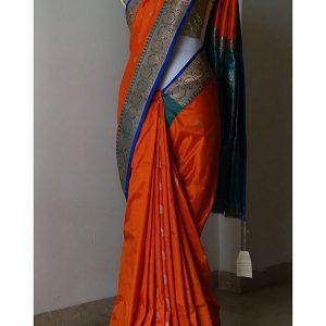 New Latest Designer Printed Orange Colour South Silk Indian Saree