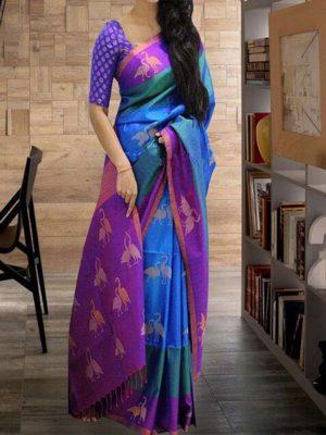 New Latest Designer Sky Blue South Silk Indian Saree