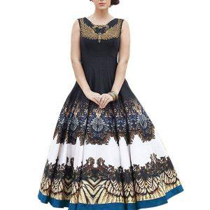 Trendy Black Colour Bhagalpuri Silk Party Wear Printed Gown