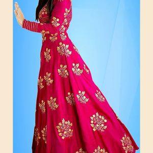 Women'S Taffeta Silk Long Style Gown With Dupatta (_Beige Taffeta_)