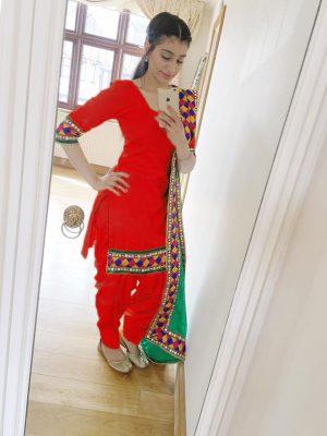Red Color Plain Salwar Suit In Cotton Fabric