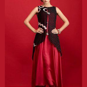 Red And Black Color Kurti In Georgette And Taffeta Silk Fabric
