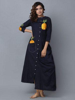 Embroidery Black Color Designer Kurti In Rayon Fabric