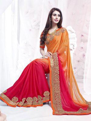 New Designer Embroidered Red & Orange Color Saree In Georgette Fabric