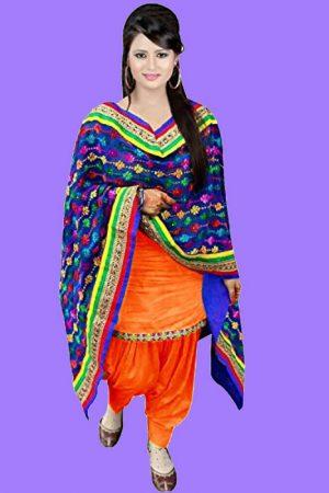 Plain Orange Color Punjabi Patiyala Suit In Cotton Fabric With Heavy Printed Duptta