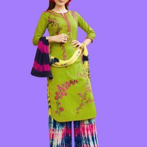 Printed Green Color Dress Material In Crepe Fabric