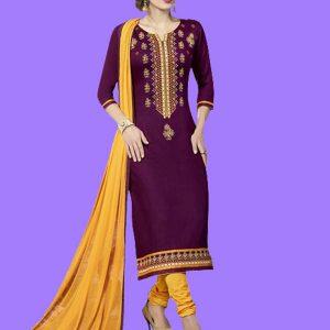 Printed Purple Color Dress Material In Crepe Fabric