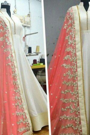 New Arrival Partywear Gajari Colour Full Long Anarkali Suit