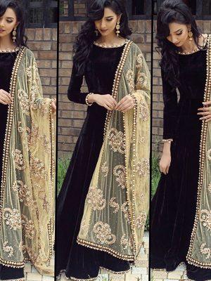 New Arrival Partywear Black Colour Full Long Anarkali Suit