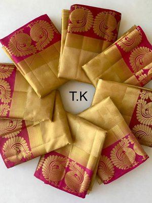 New Arrival Twin Mor Chiku Colour Kanjivaram Silk Saree