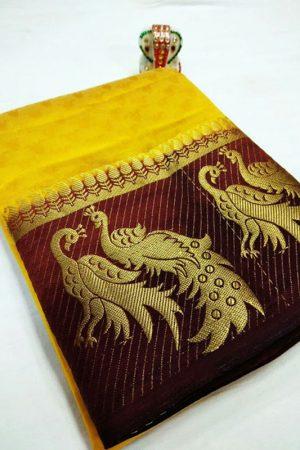 New Arrival Keri Mor Yellow & Wine Colour Kanjivaram Silk Saree