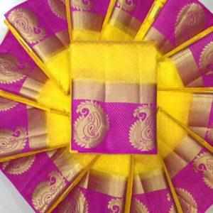 Traditional Designer Mango Yellow & Pink Colour Kanjivaram Silk Saree