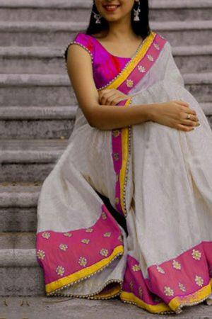 Trendy Partywear White & Pink Colour Chanderi Cotton Saree