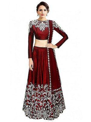 Women'S Maroon Colour Banglori Silk Lehenga Choli (Free Size )