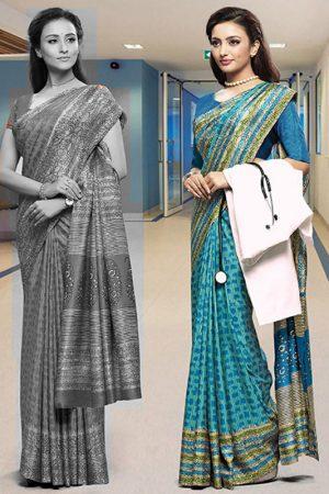 Sky Blue Poly Cotton Daily Wear Printed Work Uniform Saree