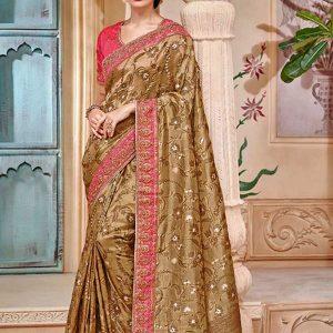 Golden Banarasi Jacquard Reception Wear Border Work Saree