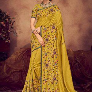 Light Green Silk Wedding Wear Heavy Embroidery Work Saree