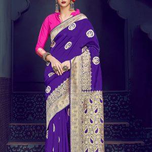 Purple Kanjivaram Silk Party Wear Zari Work Saree