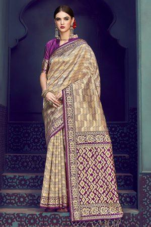 Golden Kanjivaram Silk Party Wear Zari Work Saree