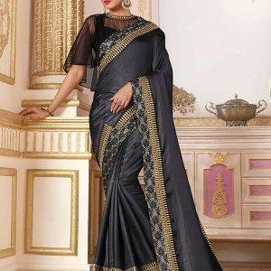 Grey Silk Wedding Wear Border Work Saree