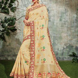 Beige Weaving Silk Wedding Wear Zari Cording Work Saree