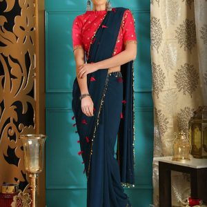 Teal Blue Georgette Party Wear Sequence Work Saree