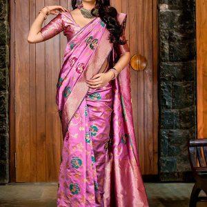 Pink Banarasi Silk Wedding Wear Printed Work Saree