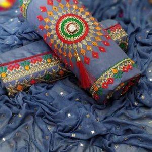 Blue Cotton Regular Wear Payal Work Salwar Suit