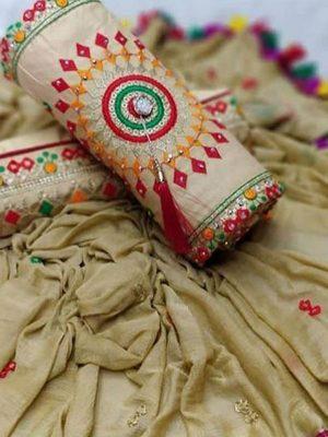 Beige Cotton Regular Wear Payal Work Salwar Suit