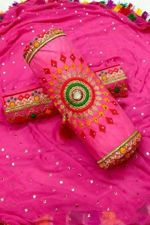 Pink Cotton Regular Wear Payal Work Salwar Suit