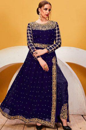 Navy Blue Georgette Festival Wear Embroidery Work Salwar Suit