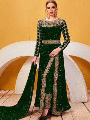 Green Georgette Festival Wear Embroidery Work Salwar Suit