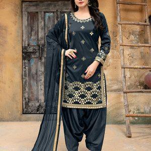 Grey Tapeta Silk Party Wear Gota Patti Work Patiala Style