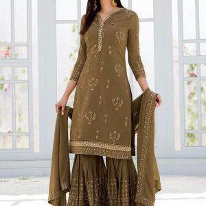 Mehendi Georgette Wedding Wear Embroidery Work Sharara Suit