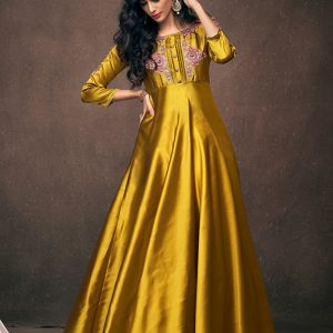 Mustard Satin Silk Casual Wear Embroidery Work Gown
