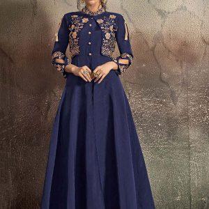 Navy Blue Tapeta Silk Festival Wear Embroidery Work Gown