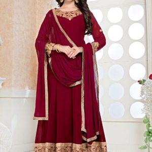 Red Faux Georgette Wedding Wear Embroidery Work Anarkali Suit
