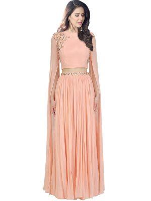 Peach Georgette Sequence Work Prathyusha Garimella Designer Crop Top With Lehenga Skirt