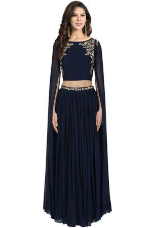 Neavy Blue Georgette Sequence Work Prathyusha Garimella Designer Crop Top With Long Lehenga