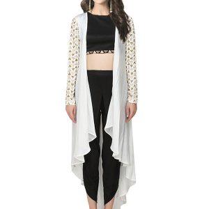Cream Satin Crepe Zari Work Prathyusha Garimella Designer Dhoti Pant With Jacket