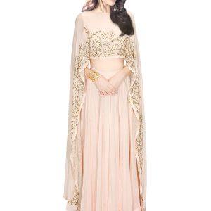 Pink Georgette Zardosi Work Prathyusha Garimella Designer Cape Top With Lehenga Skirt