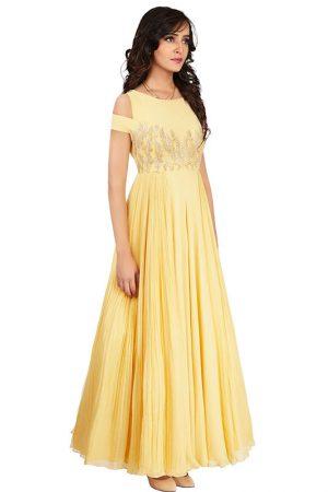 Soft Crepe Silk Light Lemon Colour Designer Gown With Gota Patti And Zari Work