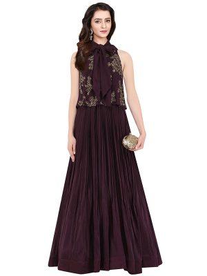 Wine Georgette Silk Sequence Work Aashna Behl Designer Dress
