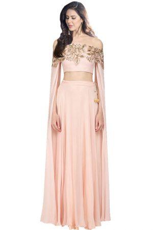 Pink Georgette Satin Sequence Work Prathyusha Garimella Designer Crop Top With Skirt