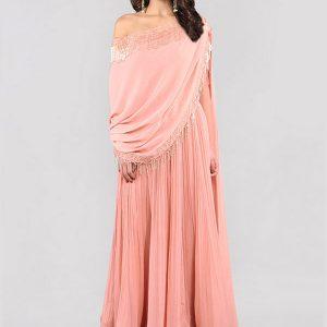 Pink Georgette Embroidery Work Ridhi Mehra Designer Anarkali Suit