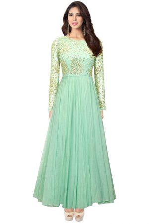 Mint Green Net Cutdana Work Designer Anarkali Suit