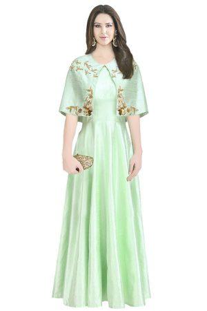 Green Raw Silk Zardosi Work Amrit Kaur Open Cape Gown