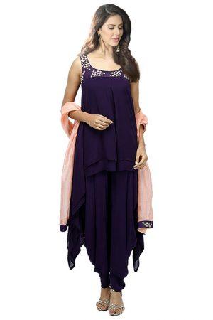 Purple Georgette Embroidery Work Designer Dhoti Salwar Suit
