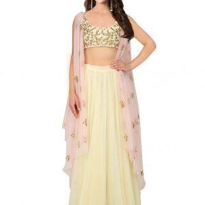 Yellow Net Sequence Work Prathyusha Garimella Designer Jacket Style Crop Top With Skirt